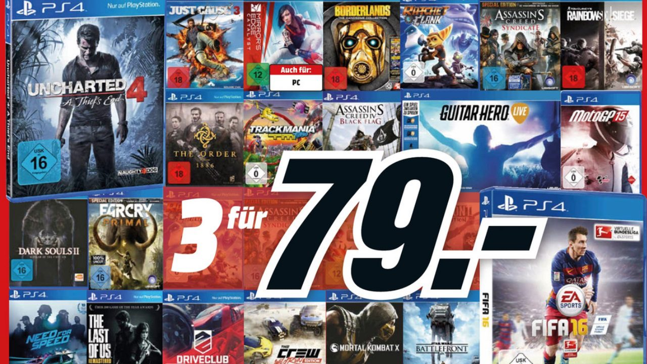 media markt 3 f r 79 auf ps4 spiele nat games. Black Bedroom Furniture Sets. Home Design Ideas