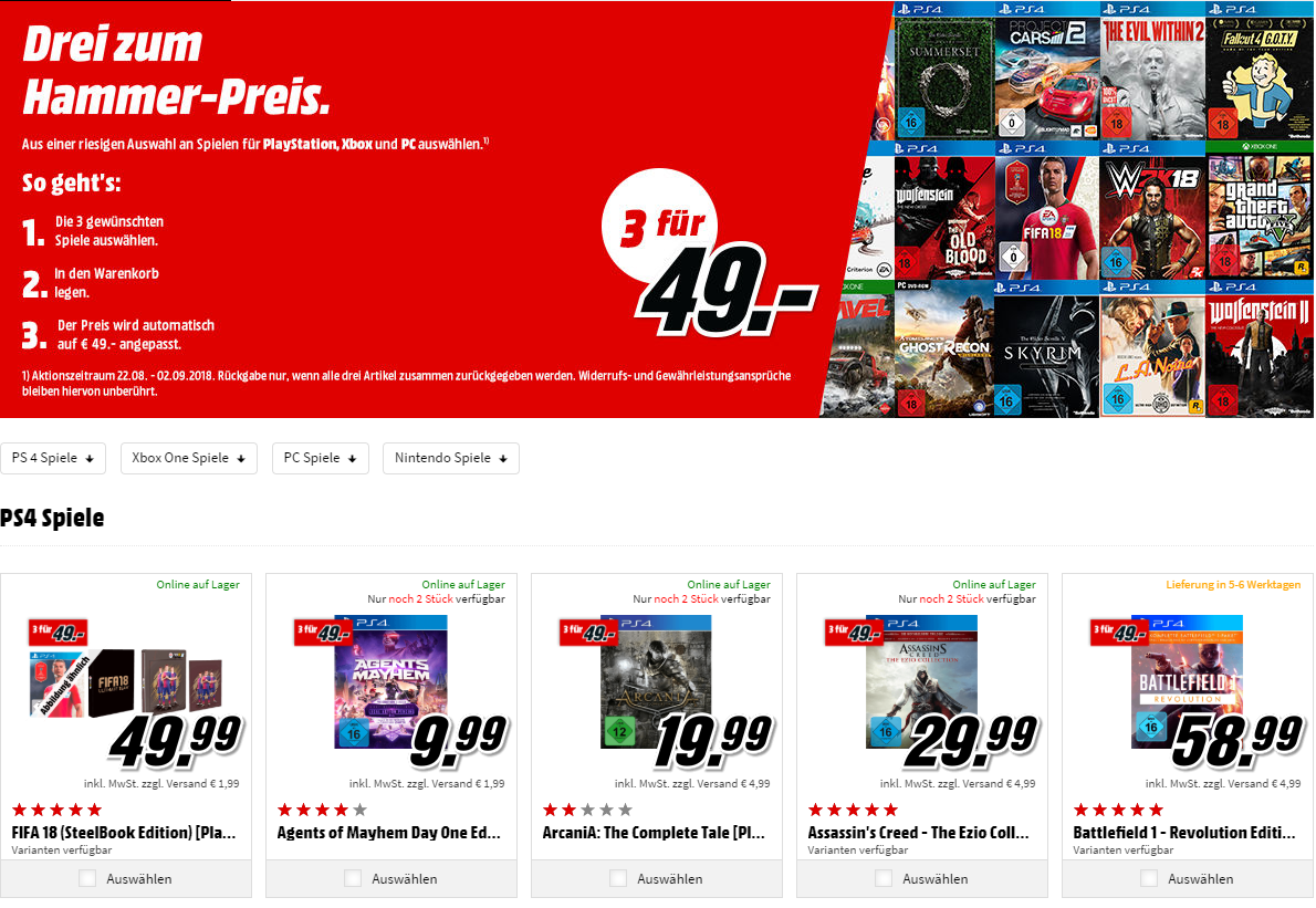 media markt neue 3 f r 49 videogames aktion gestartet online und offline nat games. Black Bedroom Furniture Sets. Home Design Ideas