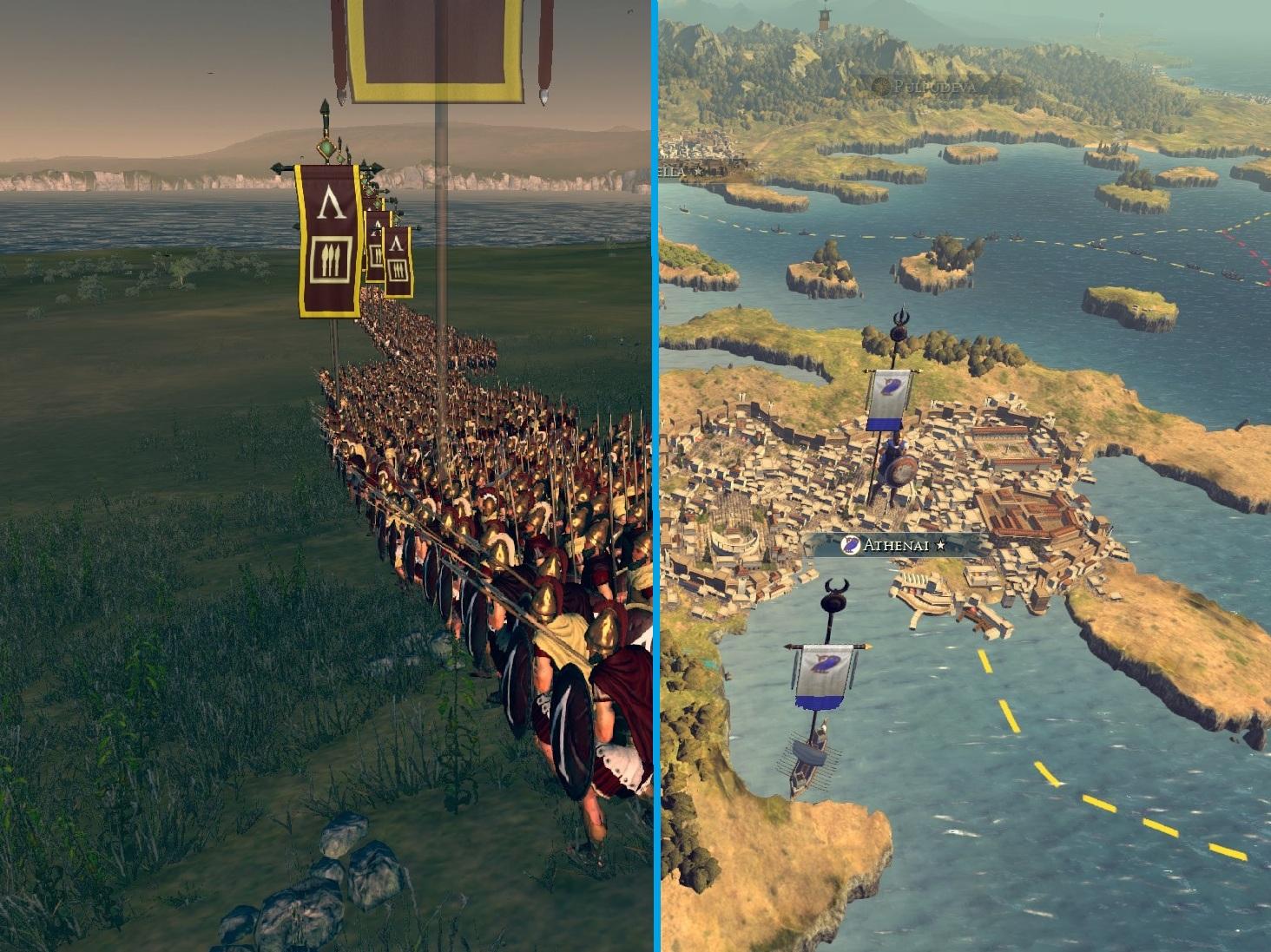 Links: Eine Armee stellt sich in Linienformation auf. Rechts: Der Blick auf die Kampagnen-Karte.