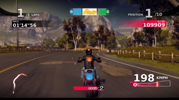 Der Motorrad-Wechsel wird im Bildschirm immer demonstriert.
