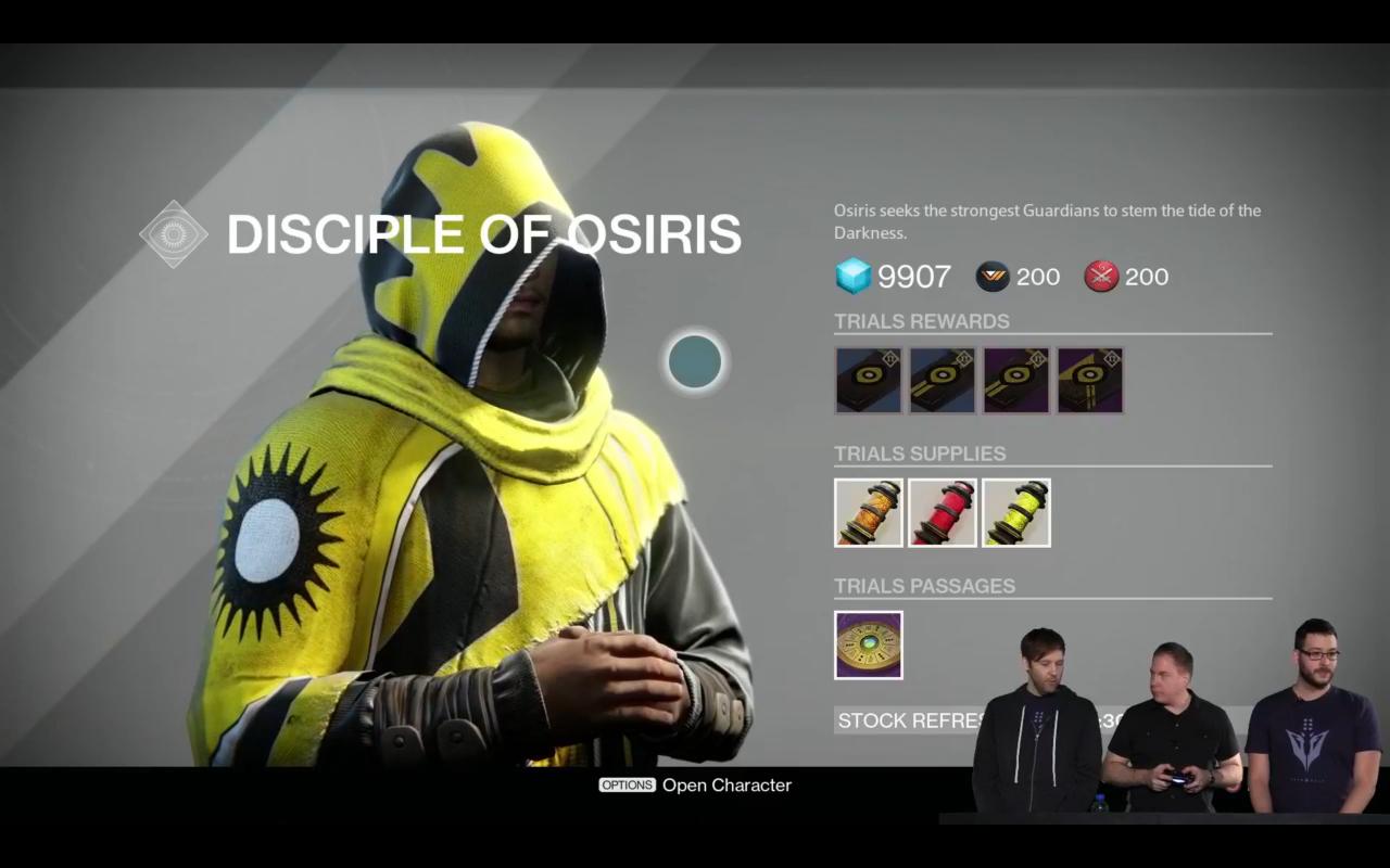 Bruder Vance verwaltet die Trials of Osiris.