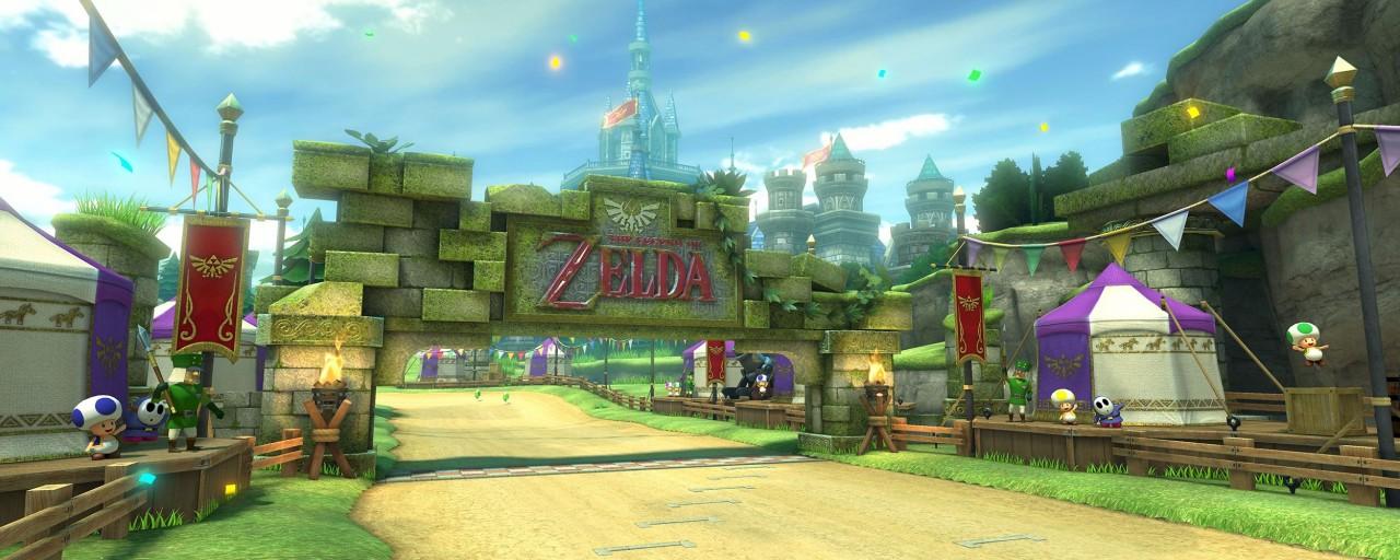 Hyrule-Piste in Mario Kart 8.