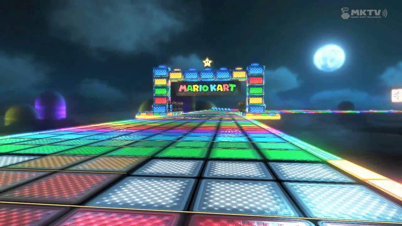 Regenbogen-Boulevard in Mario Kart 8.