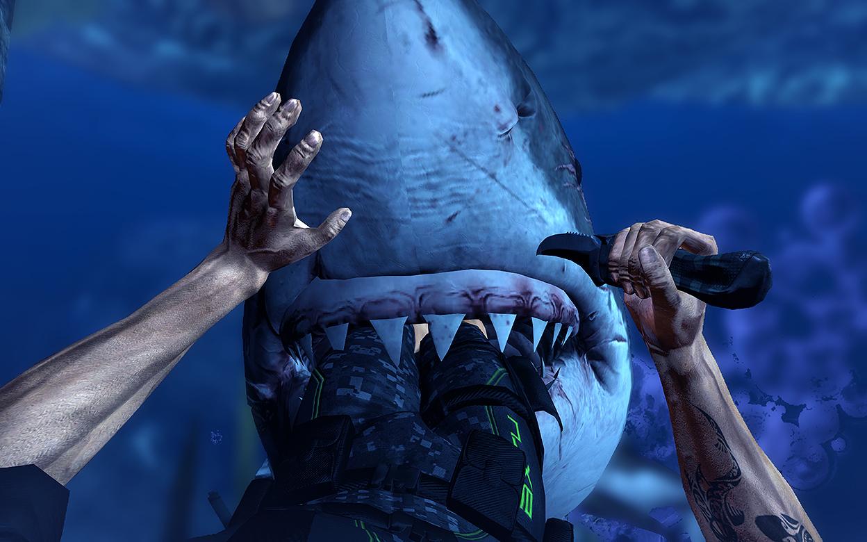 An diesem Bild kann man die matschigen Texturen an dem Hai sehr gut erkennen.