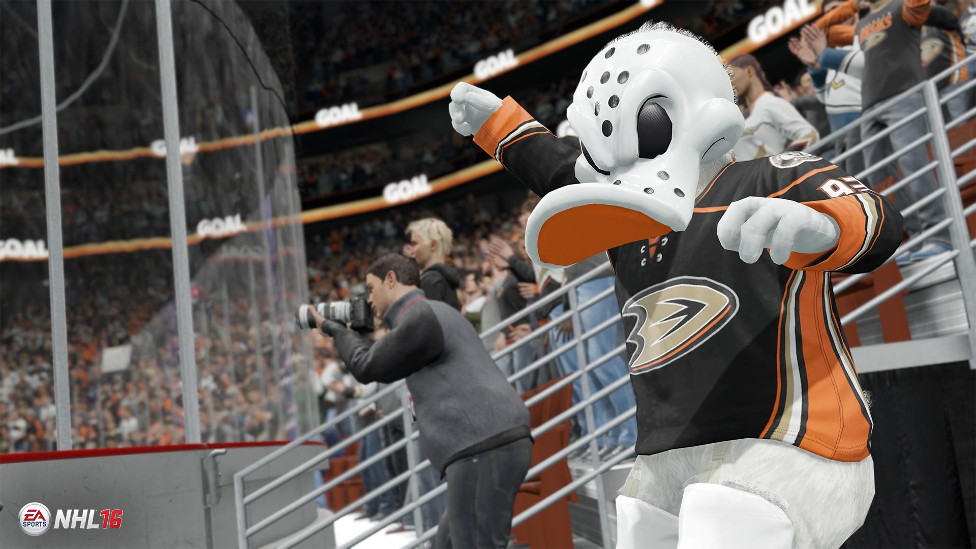 Alle Maskkotchen der NHL Teams sind im Spiel vorhanden