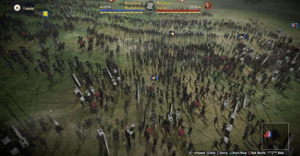 Im Kampf werden hunderte von Krieger auf einmal gezeigt.