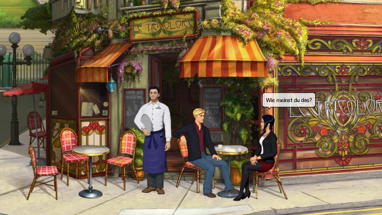 George und Nico machen eine kleine Besprechung im Cafe um die Ecke.