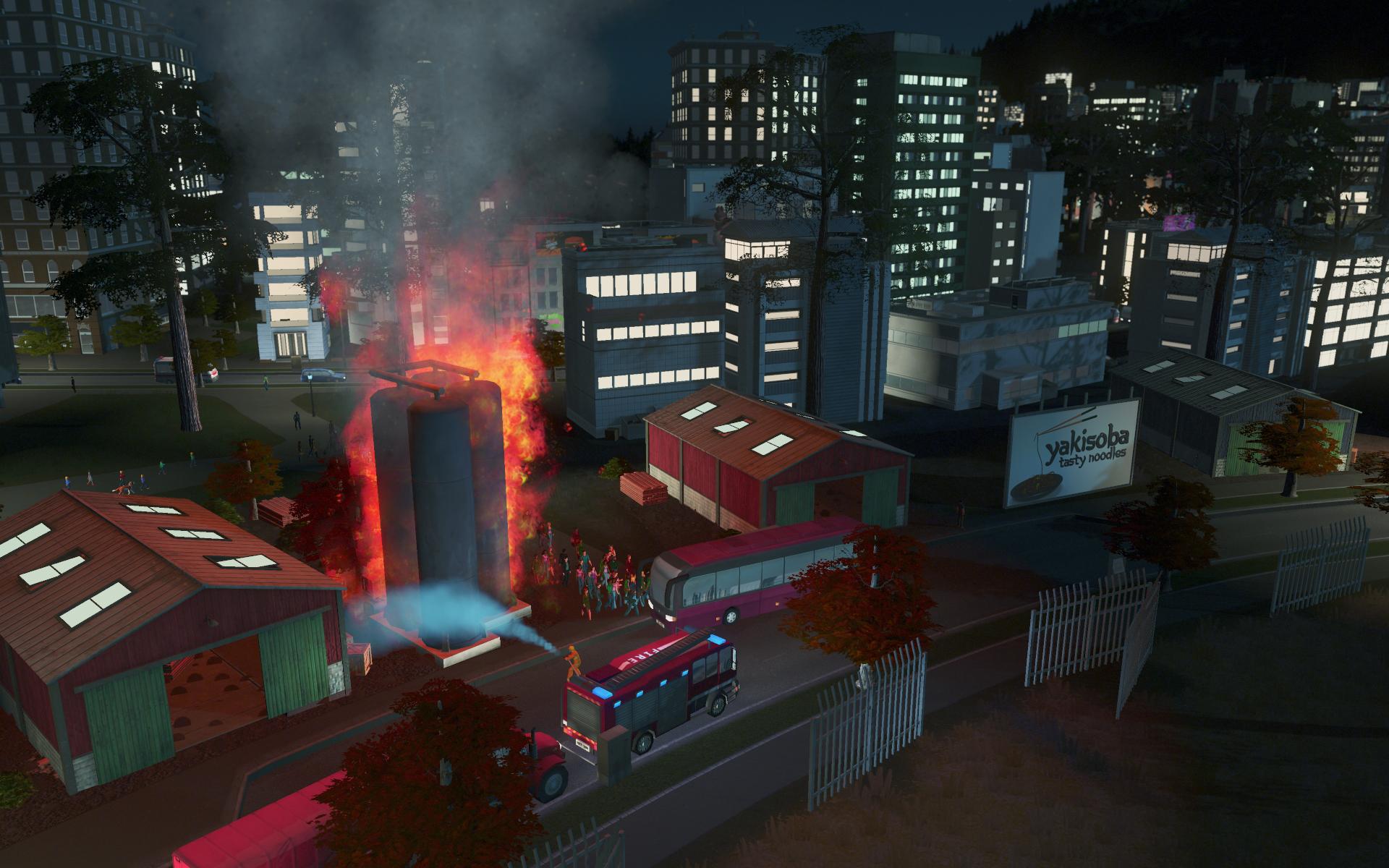 Die Einsätze unserer Feuerwehr werden durch den Brand schön in Schau gesetzt.