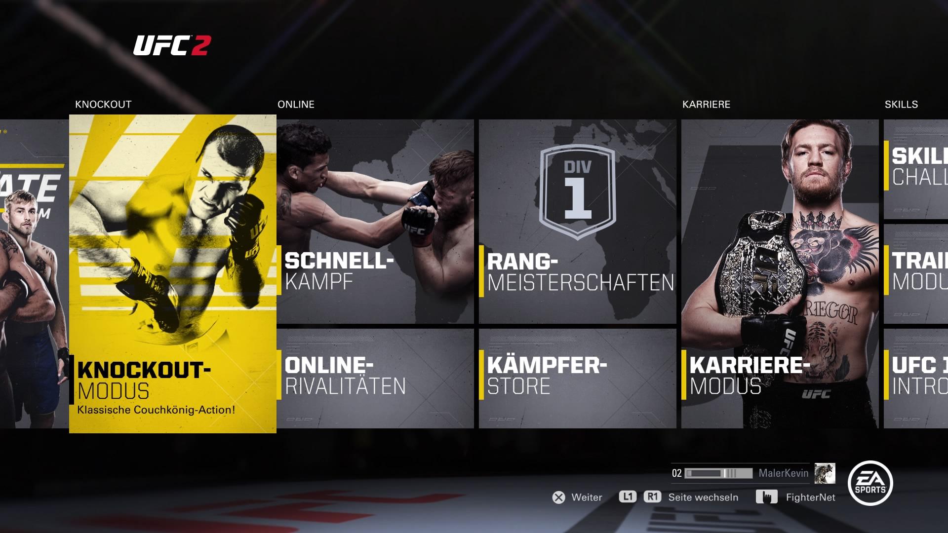 Wer schon einmal eines der letzten EA Sports Spiele gespielt hat. Kommt im Menü sofort zu recht.