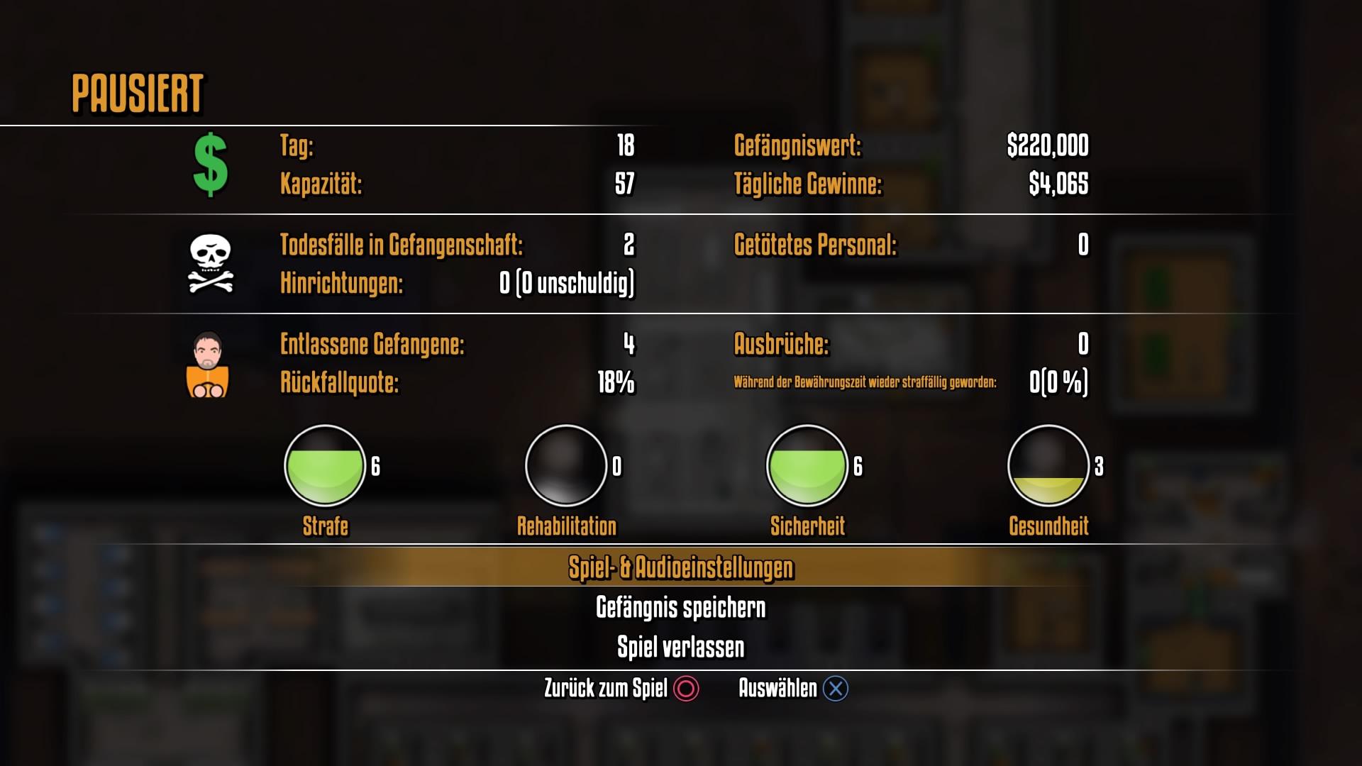 Im Pausebildschirm sehen wir eine ausführliche Statistik über unser Gefängnis.